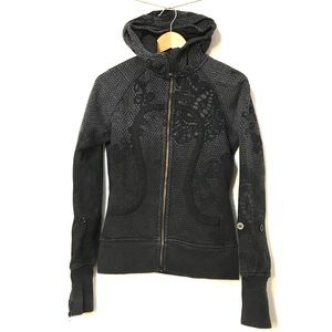 Lululemon Scuba Hoodie Coal Black Orbit Lace sz 4
